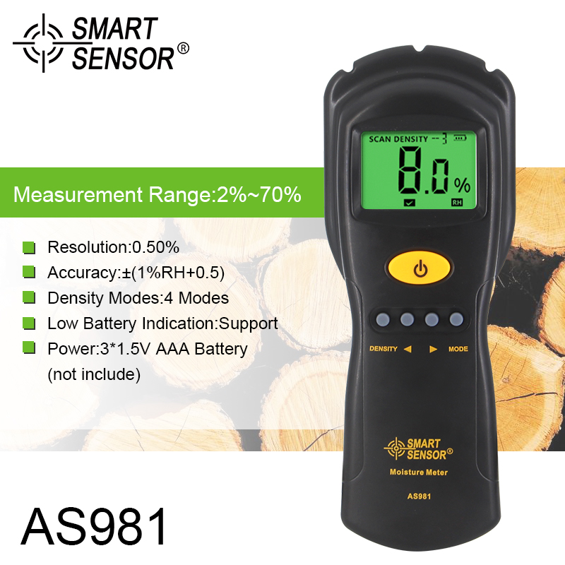 SMART SENSOR AS981 Digital Moisture Meter Mini Wood Humidity Detector With LCD Display high precision digital electric moisture meter wood timber plank humidity moisture content tester gauge with 11mm probe vc2ga