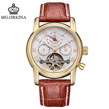 NEW ORKINA brand belt automatic mechanical watches fashion business table waterproof man watches 2016 brand luxury