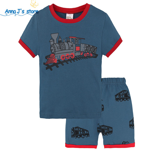 d8d1574b1 TZ570 Summer children clothing set train pattern toddler clothing ...
