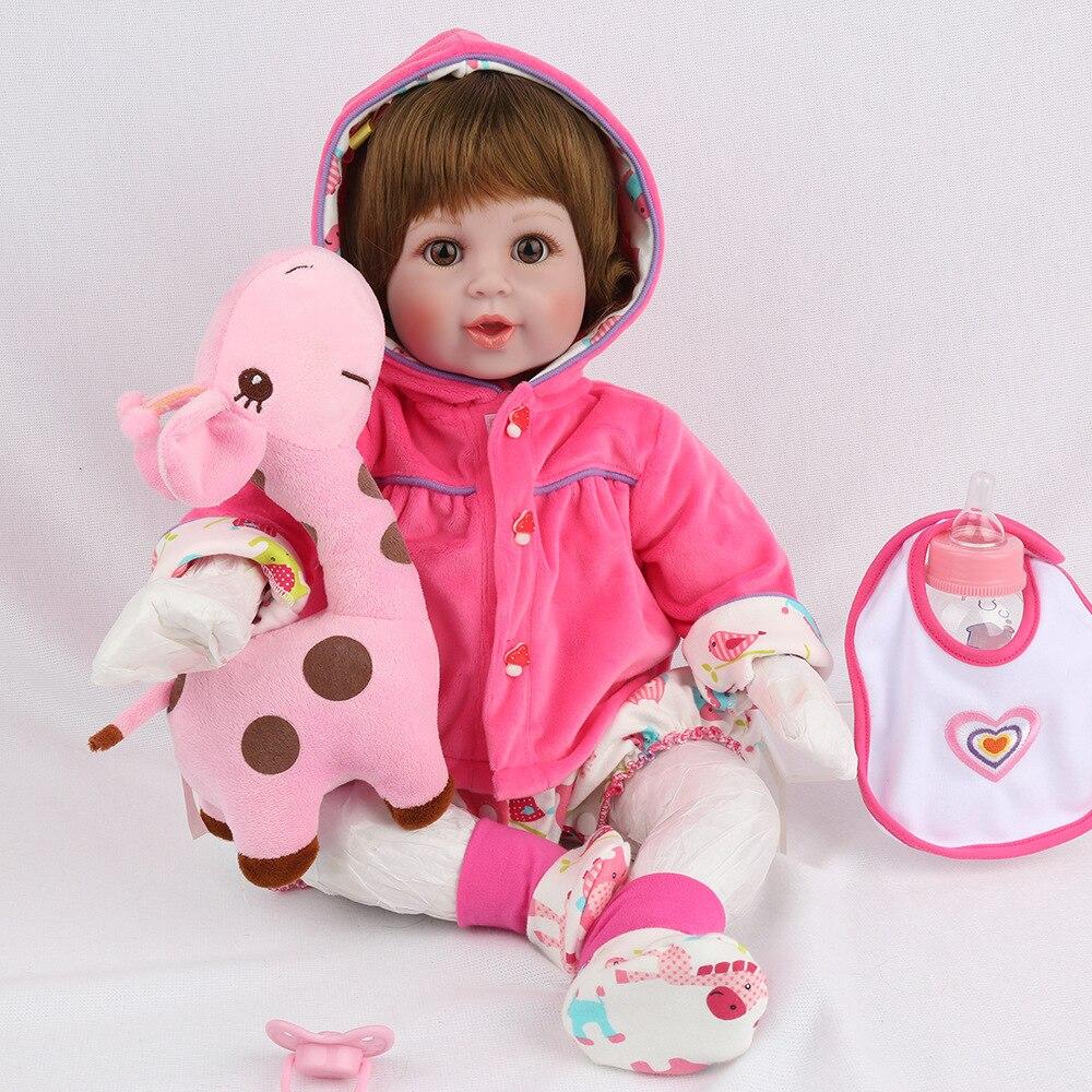 newborn baby doll gift toy soft vinyl silicone reborn baby dolls girls boys mouth big eyes open with plush animals giraffe toys