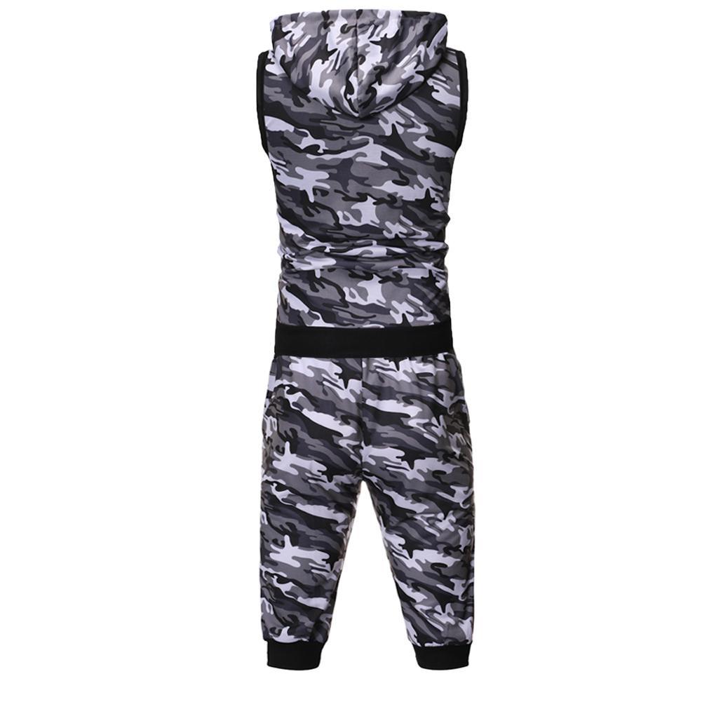 Yfashion 2 Pcs/set Men Set Classic Sports Casual Camouflage Sweatshirt Tops Pants Sets Mens Vest Top Pants Set Streetwear
