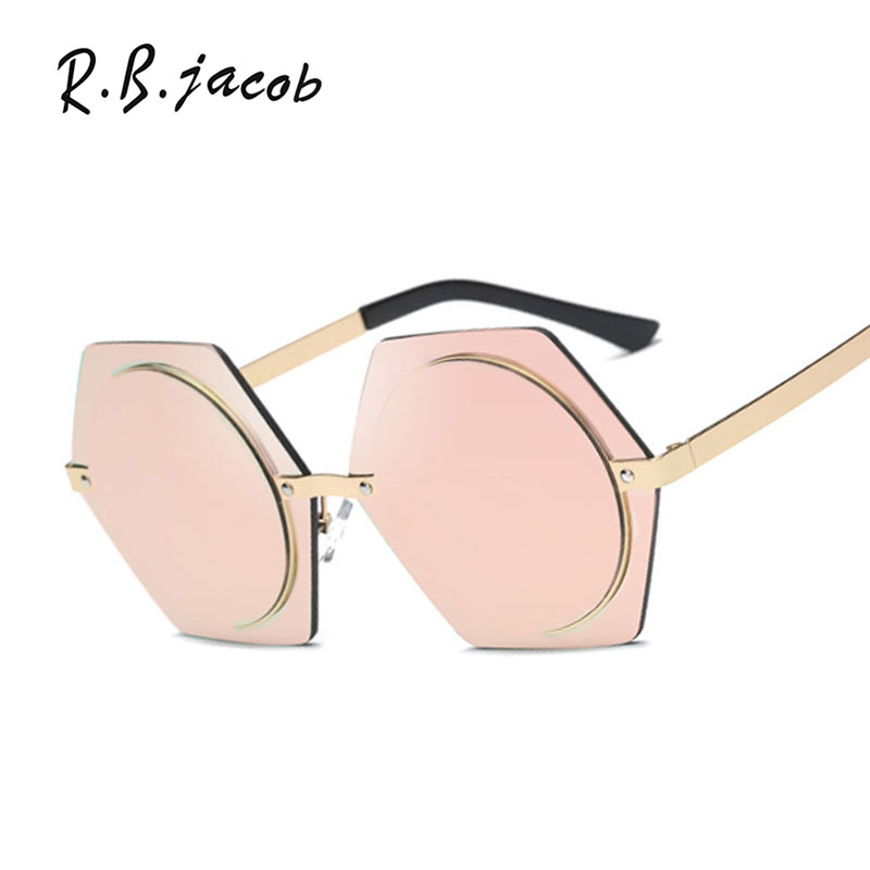 2017 New Brand Designer Women Sunglasses Lady Sun Glasses Female Shade Men hexagon Hip Hop Oversized Big Size Mirror
