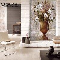 يمكن تخصيص ملصقات الحائط ورق الحائط 3d كبير كبير جدارية زهرة الأزياء النفط اللوحة أريكة التلفزيون خلفية خلفية الرقمية