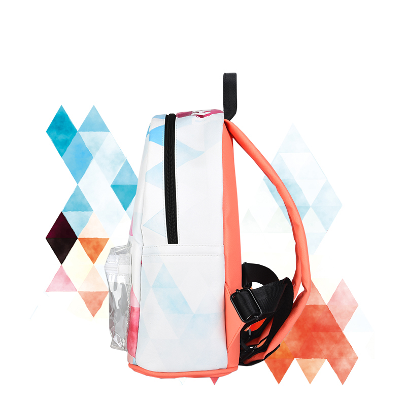 Famous Brand Transparent Pocket Small Backpack Women Geometry Printing  School Bag PU Leather Knapsacks Lady Clear Bagpack-in Backpacks from  Luggage   Bags ... fe6aedc9dd