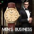 North moda hombre reloj marca de lujo 30 m impermeable reloj 2017 reloj militar de cuarzo de negocios hombres casuales de cuero genuino