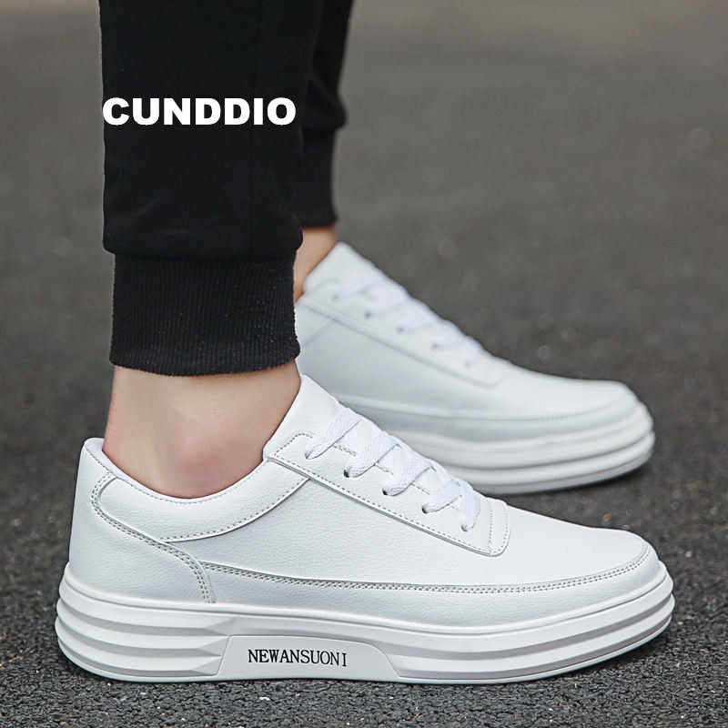 33df9952946f9 Men fashion casual shoes Leather men sneakers Platform apartment men four  seasons Leisure Unisex White black
