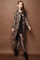 Women Vintage Autumn & Winter Long Floral Jacquard Trench Coat Windbreaker Slim Women Outwear Embroidery Brocade Trench S 5XL