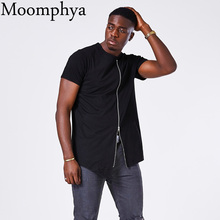 Moomphya de ampliar hip hop calle t camisa botín bajo t camisa de los  hombres con estilo de cremallera de diseño t-shirt de homb. a5a0aca5778