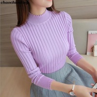 Korean 2017 New Lady High Collar Pullovers White Gray Black Purple Coffee And Red Colors Autumn