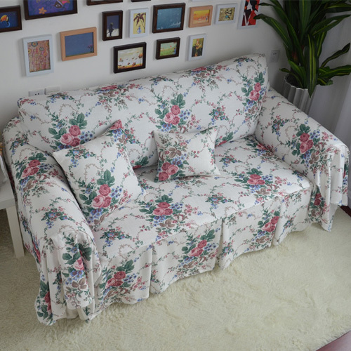 Groovy Pastoral Style Pink Floral White Cloth Decorative Sofa Cover Gamerscity Chair Design For Home Gamerscityorg