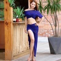 2019 New Belly Dance Practice Costume Women'S Sexy Oriental Dance Bat Shirt Long Skirt Indian Training Suit Belly Dancing DL3847