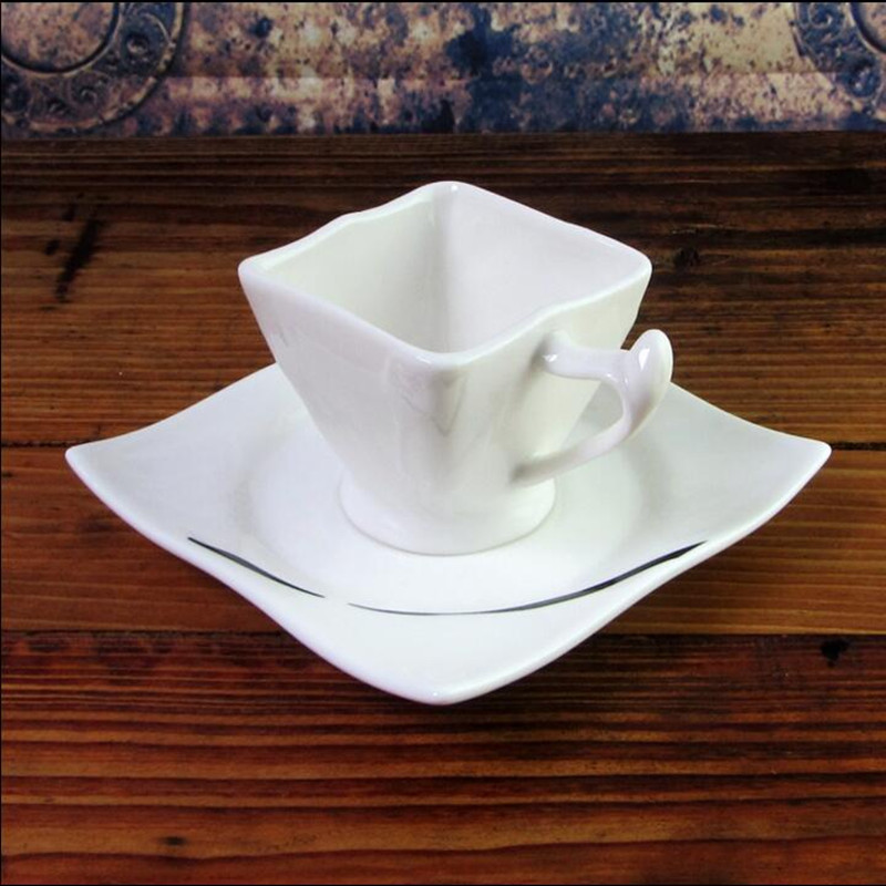Detail Feedback Questions About New Arrival Novel Art Creative Coffee Cup Gift Ceramic Square And Saucer Tea Set On Aliexpress Alibaba
