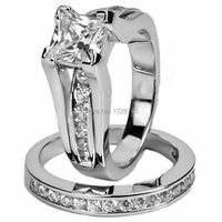 Free Shipping Jewelry Wedding Engagement Ring Size 5 10 Princess Cut 10KT White Gold Filled 3A