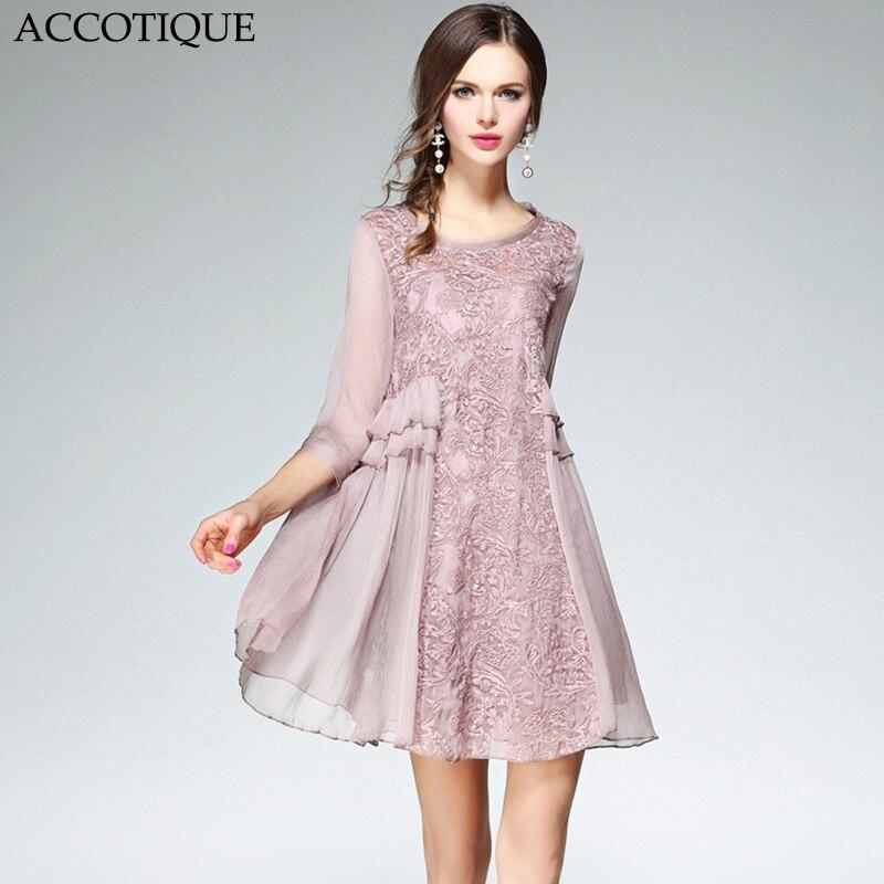 새로운 도착 여름 여성 자수 라인 느슨한 패치 워크 드레스 여성 라이트 핑크 우아한 캐주얼 짧은 드레스-에서드레스부터 여성 의류 의  그룹 1