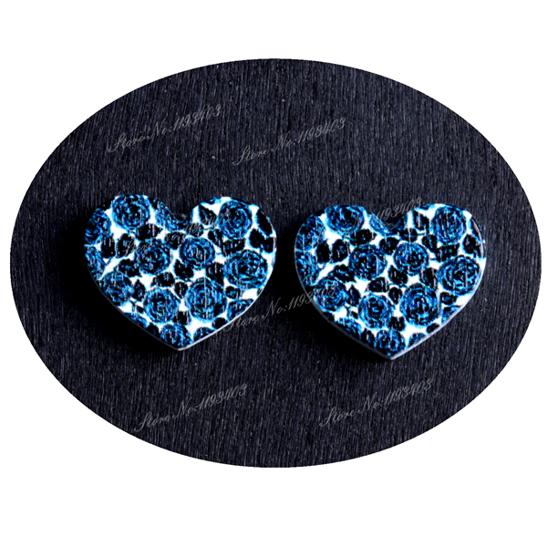 16mm Flowers Heart Shape  Image Painted Wooded Laser Cut Cabochon to make Rings, Earrings, Bobby pin, pendant