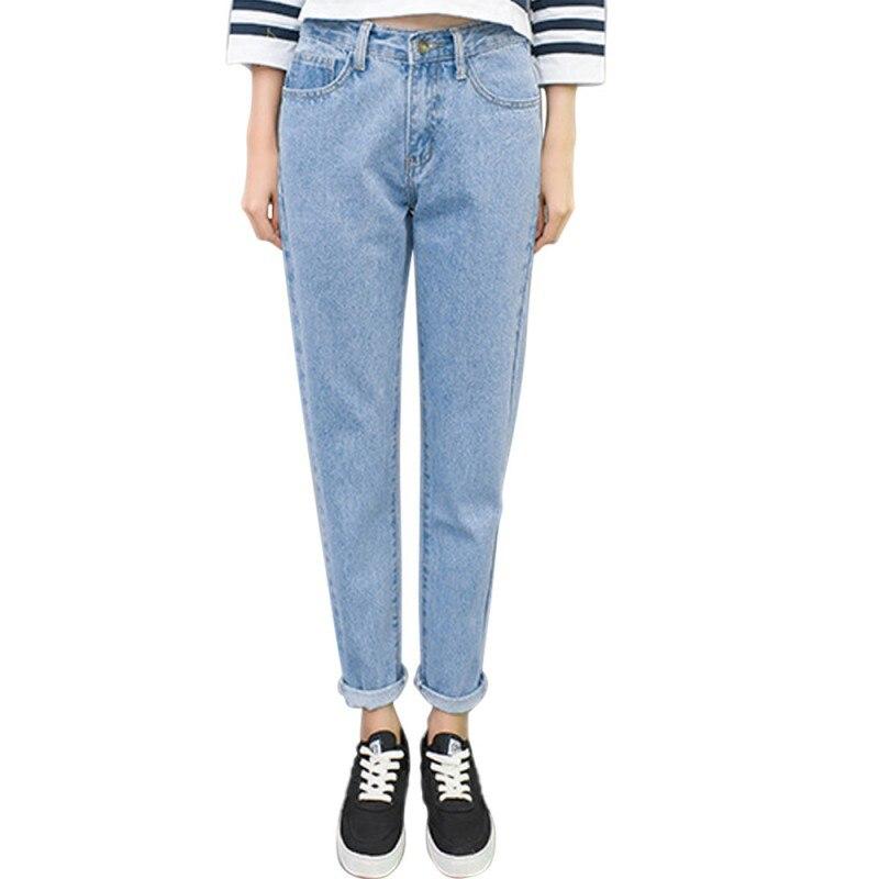 2017 Fashion Summer Boyfriend   Jeans   For Women Vintage High Waist Washed Button Blue Denim Long Harem   Jeans   Femme