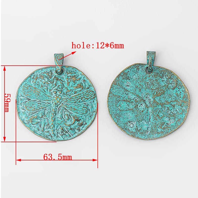 2pcs Antique Greek Gold Round Charms Embossment Dragonfly Jewelry Pendant Findings ACC in Pendants from Jewelry Accessories