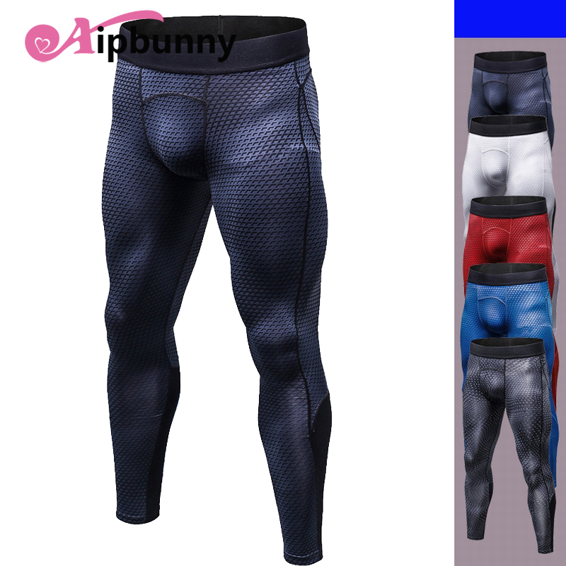 Aipbunny New Gym Male Trousers Men Skinny Print yoga Long Pant Compression Running leggings Tight Fitness Sports Jogging pants