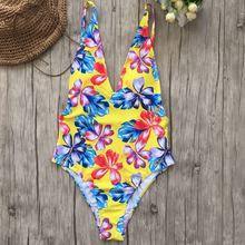 2019 New Women Sexy One-piece Printing Thin Backless Swimwear Bodysuit Europe and the United States Slim Swimsuit