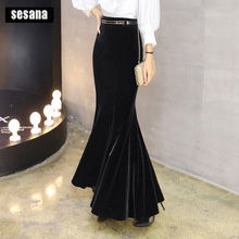 TIYIHAILEY Free Shipping Fashion Long Maxi Velvet Skirt Women Plus Size S 5XL Mermaid Style Fish Tail Stretch Ladies Black Skirt