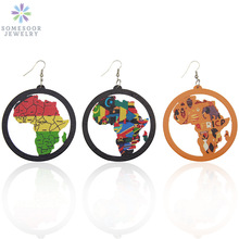 SOMESOOR United Colors Of African Map Women Wood Drop Earrings Jewelry Afrocentric Ethnic Tribal Countries Pattern For Blacks