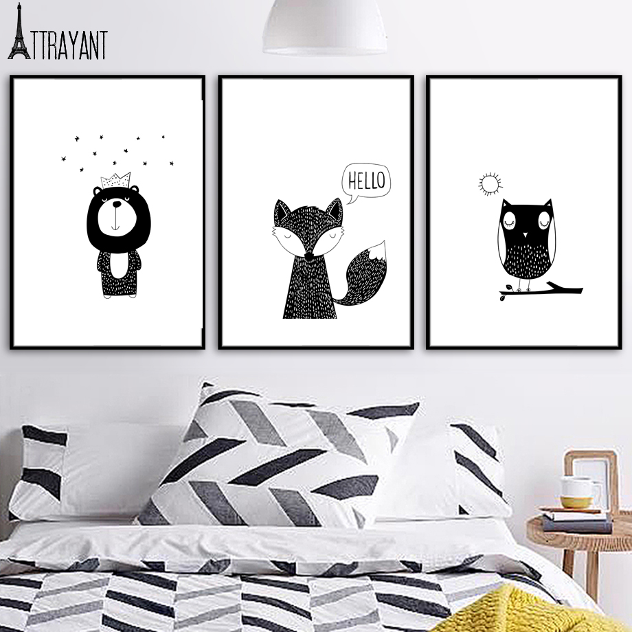 Black White Wall Art Canvas Painting