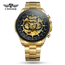 WINNER Top Brand Luxury Men Mechanical Watch Stainless Steel Strap Skeleton Dial Automatical Male Wristwatch relogio masculino