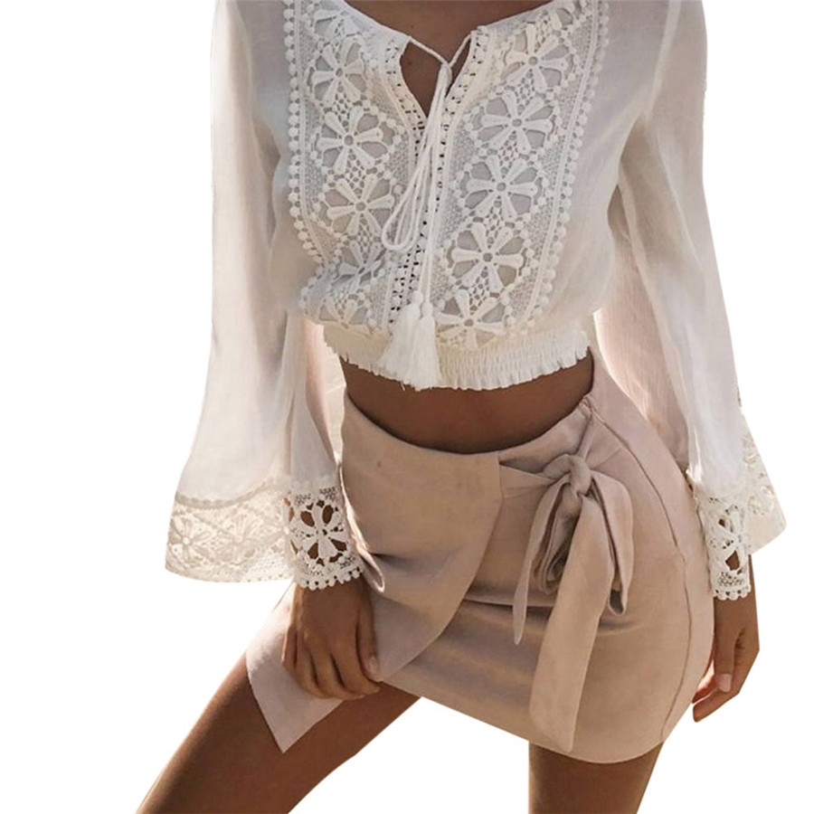 Shirt design with laces - 2017 New Design Women Summer Long Sleeve V Neck Loose Blouse Ladies Casual Lace Stitched Shirt