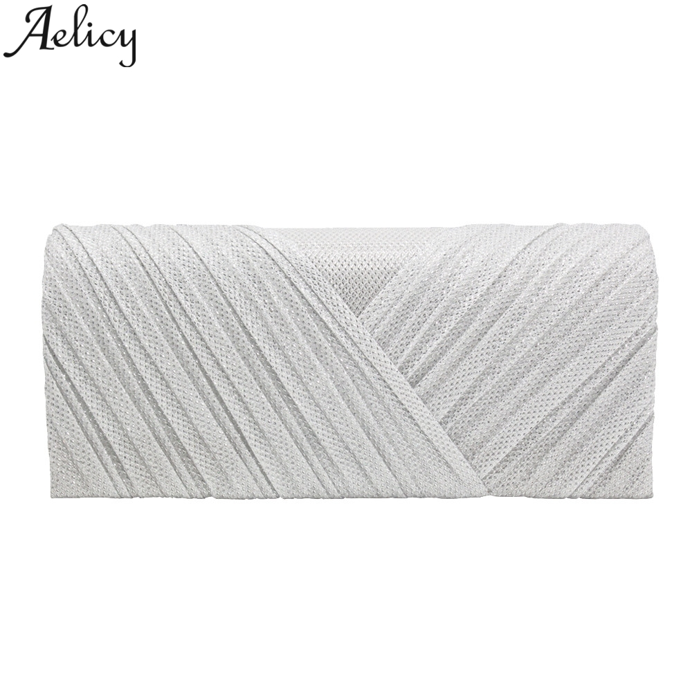 Aelicy 2019 Fashion Women Solid Ruched Embroidery Cocktail Party Bag Ladies Tote Phone Bag Evening Clutch bags Luxury Handbags 2