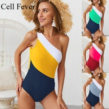 Sexy One Piece Swimsuit Women's Swimming Suit One Shoulder Swimwear Asymmetric Monokini Backless Contrast Patchwork Bathing Suit цена 2017