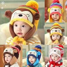 NEW Winter Baby Kids Warm Monkey Hat Hooded Earflap Knitted Wool Caps