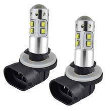 Farol de led branco para carro, 2 peças 881 100w lâmpadas led para polaris sportsman 300 400 450 500 550 12v v v