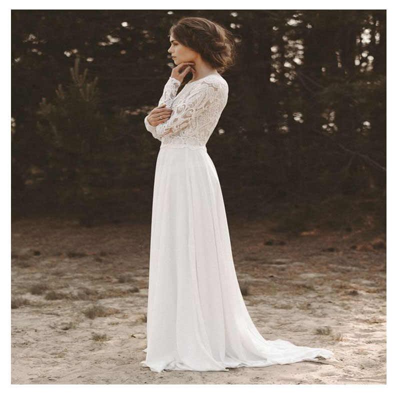 27b1291d1d6fc81 ... Лори Бохо белое свадебное платье Глубокий v-образный вырез Кружевной  Топ шифоновое платье невесты элегантное ...