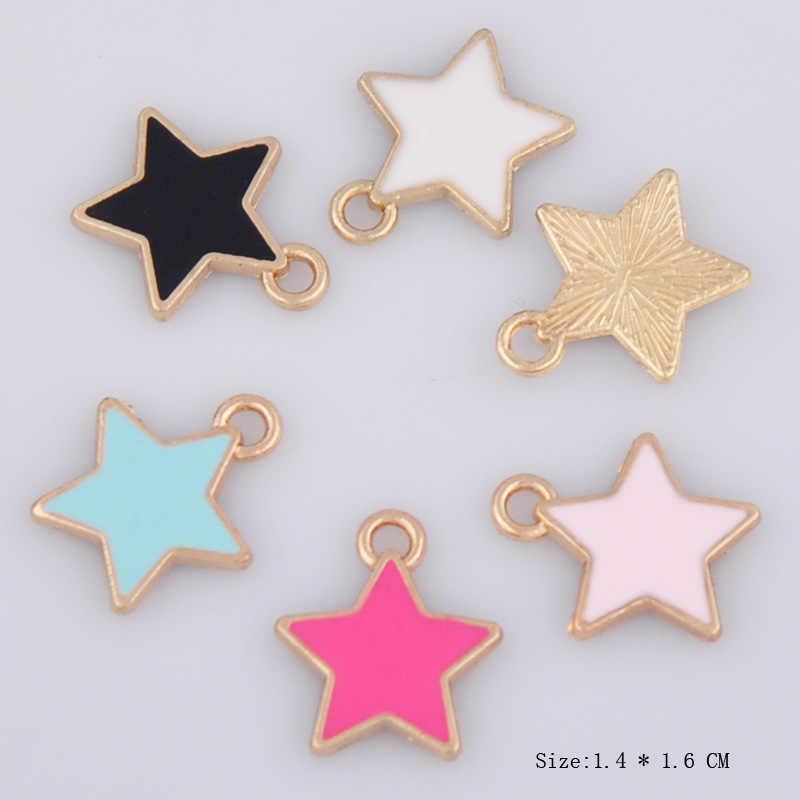 """10 יחידות 14*16 מ""""מ DIY אמייל כוכב קסמי קוריאני תכשיטי אביזרי KC זהב סגסוגת קטן צמיד תליון אופנה כוכב להתנדנד מציאת"""