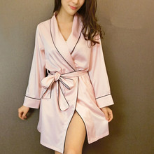 yomrzl Autumn New arrival robe luxury female sexy faux silk silky satin sleepwear nightgown lounge M378(China)