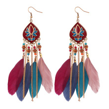 LEADERBEADS Womens Ethnic Colour Drawing Bohemian Beads Feather Long Fringe Earrings Girls Beach Party Fashion Jewelry 2019