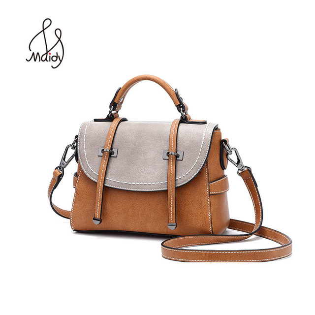 Maidy Vintage Casual Womens Tote Doctor Bags Postman Crazy Horse Leather Handbag Purse Embroidery Panelled Shoulder