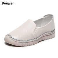 2018 Spring Women S Handmade Shoes Genuine Leather Flats Mother Shoes Woman Loafers Soft Single Casual