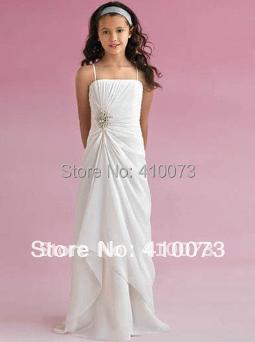 Free Shipping Best Seller Designer Retail Price Ivory Chiffon Flower Girl Dress Beaded Spaghetti Straps