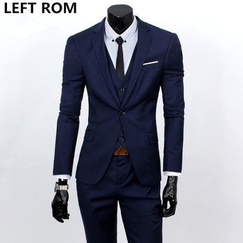 (jackets+vest+pants) 2018 fashion male quality slim high-grade cotton business BLAZER/Men groom dress suit three-piece/jackets