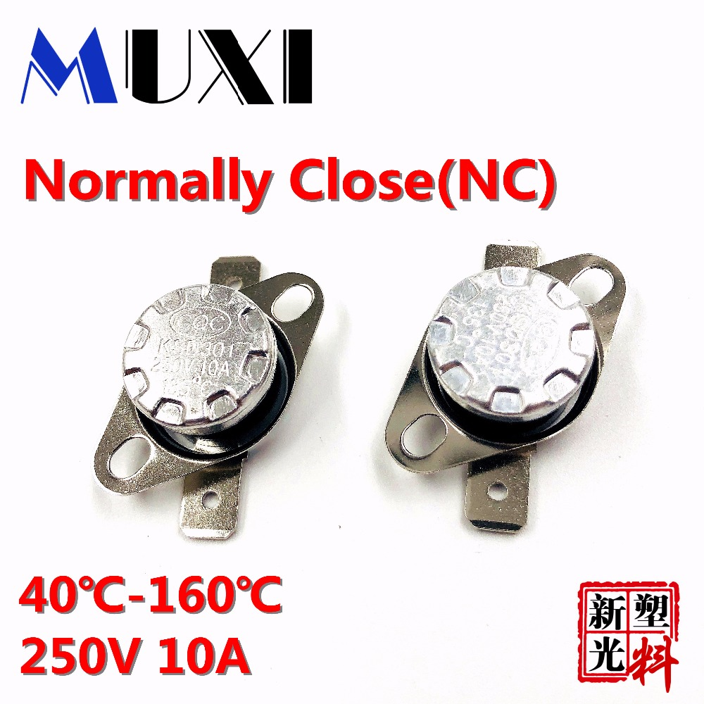 High Quality 5Pcs/Lot KSD301 10A 250V Bimetal Disc Temperature Switch Thermostat 45-160 Degree Normal Closed Free Shipping rj45 мужского на женский удлинительный кабель черный 0 5 м