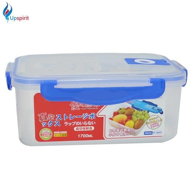1pc 1700ML PP Storage Organizer Novelty Clear Plastic Vacuum Box Case Fresh  Crisper Box Food Container