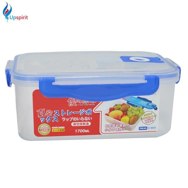 1pc 1700ML PP Storage Organizer Novelty Clear Plastic Vacuum Box Case Fresh Crisper Food Container Japanese Lunch Bento