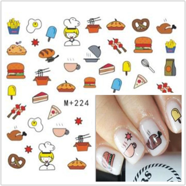 1sheet Hot Designs Cute Food Sticker Nail Art Sticker Nail Foils For