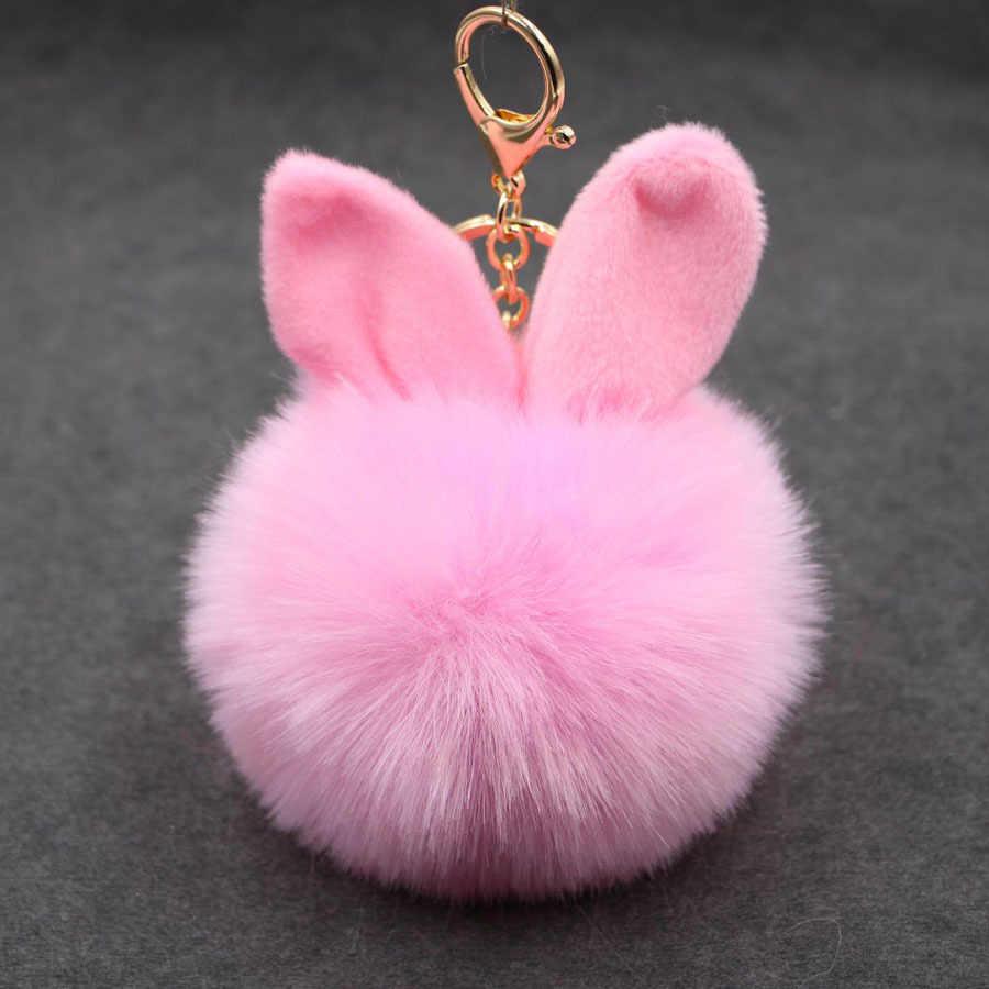 Alta qualidade macio do falso coelho orelha bola de pele chaveiro titular pompom pele de coelho artificial chaveiro feminino bolsa do carro chaveiro