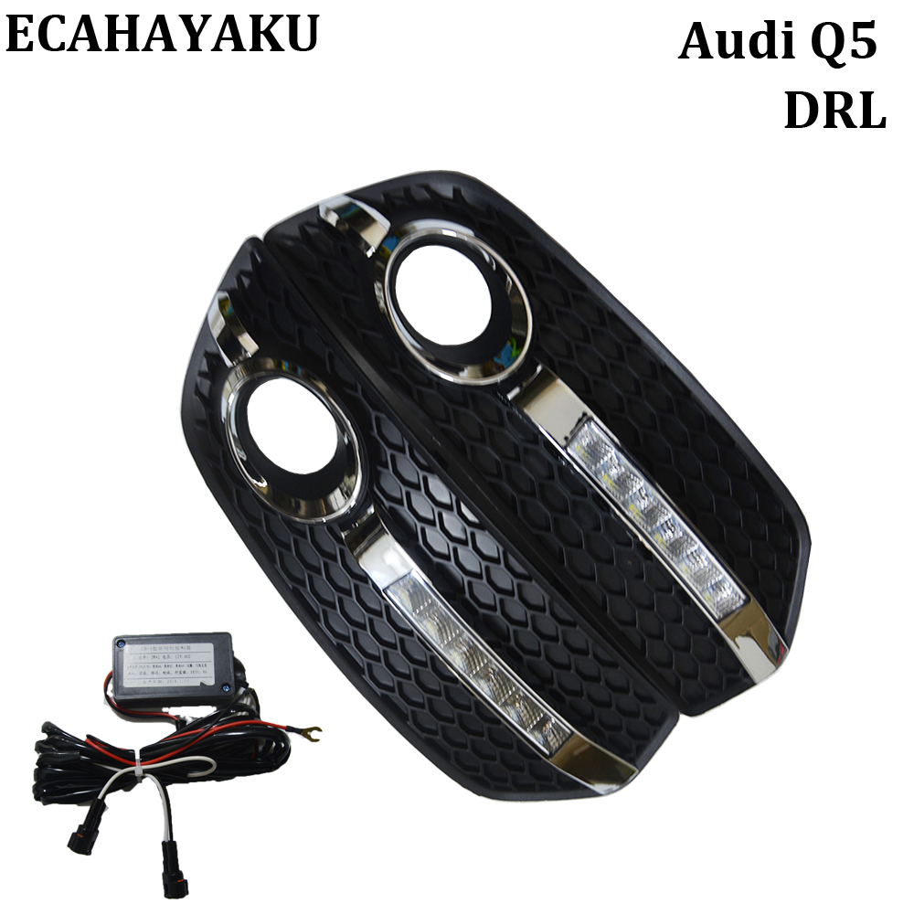 ECAHAYAKU Car-styling DRL Daytime Running Light 12V Car Light Fog Driving Lamp Bright White 6000K for Audi Q5 09-12