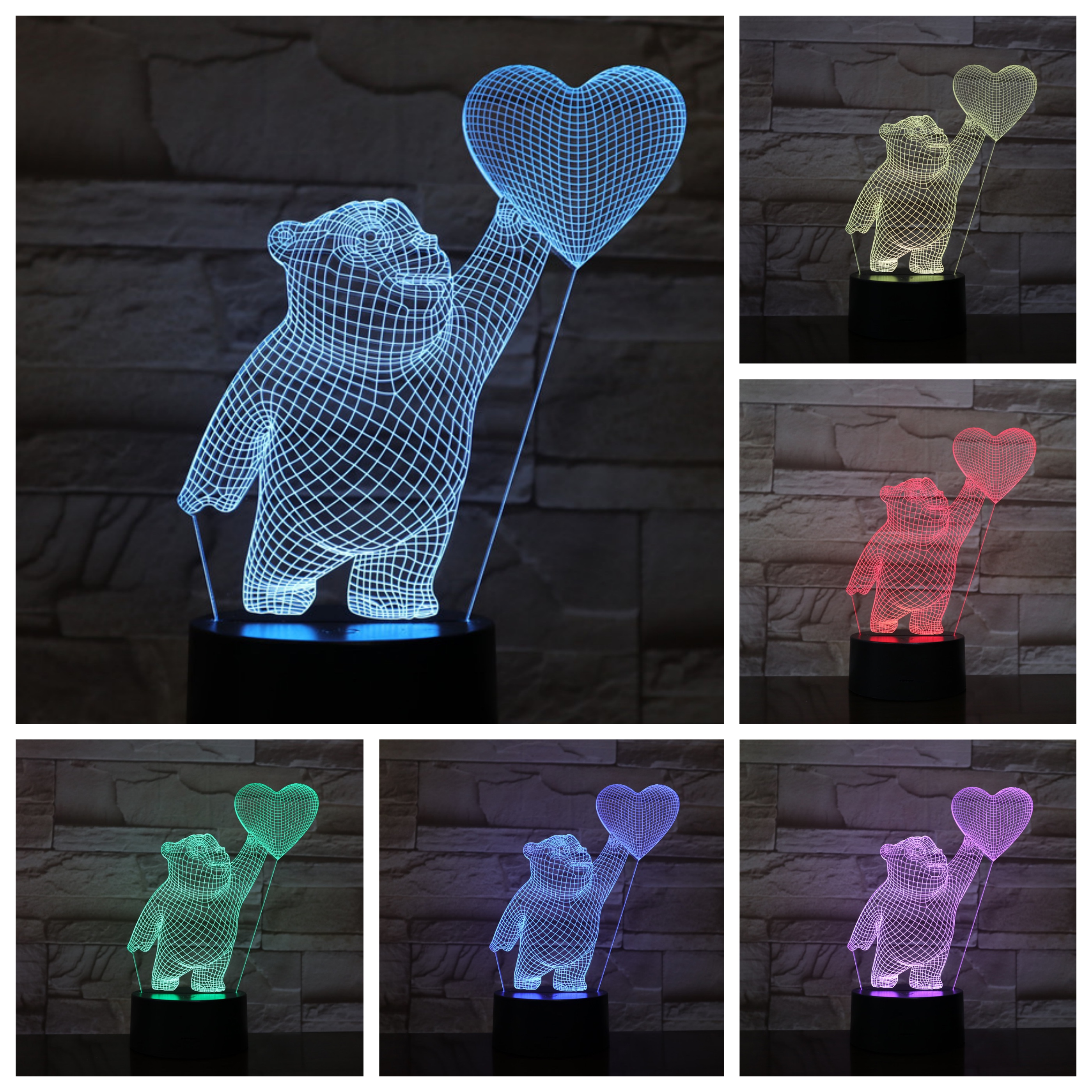 Love heart balloon Bear 3D LED Lamp bedside 7 Color Changing Lampara RGB Child Kids Baby Birthday Gifts USB Night Light