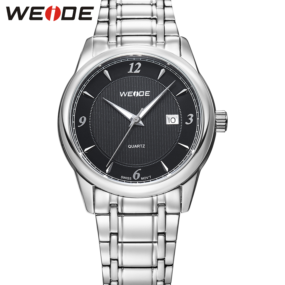 ФОТО WEIDE Luxury Brand Analog Quartz Wrist Watches High Quality Round Case Stainless Steel Wristwatches Original Gifts For Men