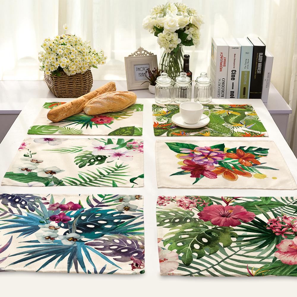 4pcs Plant Series Cotton and linen placemat flower leaf printing tableware mats wedding party tabletop tableware Placemat