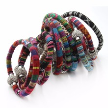 Lacoogh New Handmade Multicolor Knitted Ethnic Retro Bohemia Bangles Female Shambhala Magnetic Button Charms Bracelets for Women